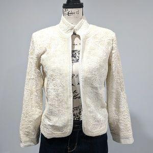 ZARA Beaded Cream Color Blazer Jacket NWT Small
